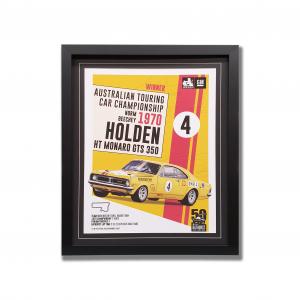 Vintage Holden HT Monaro GTS imagery celebrating Bathurst win. In black frame.