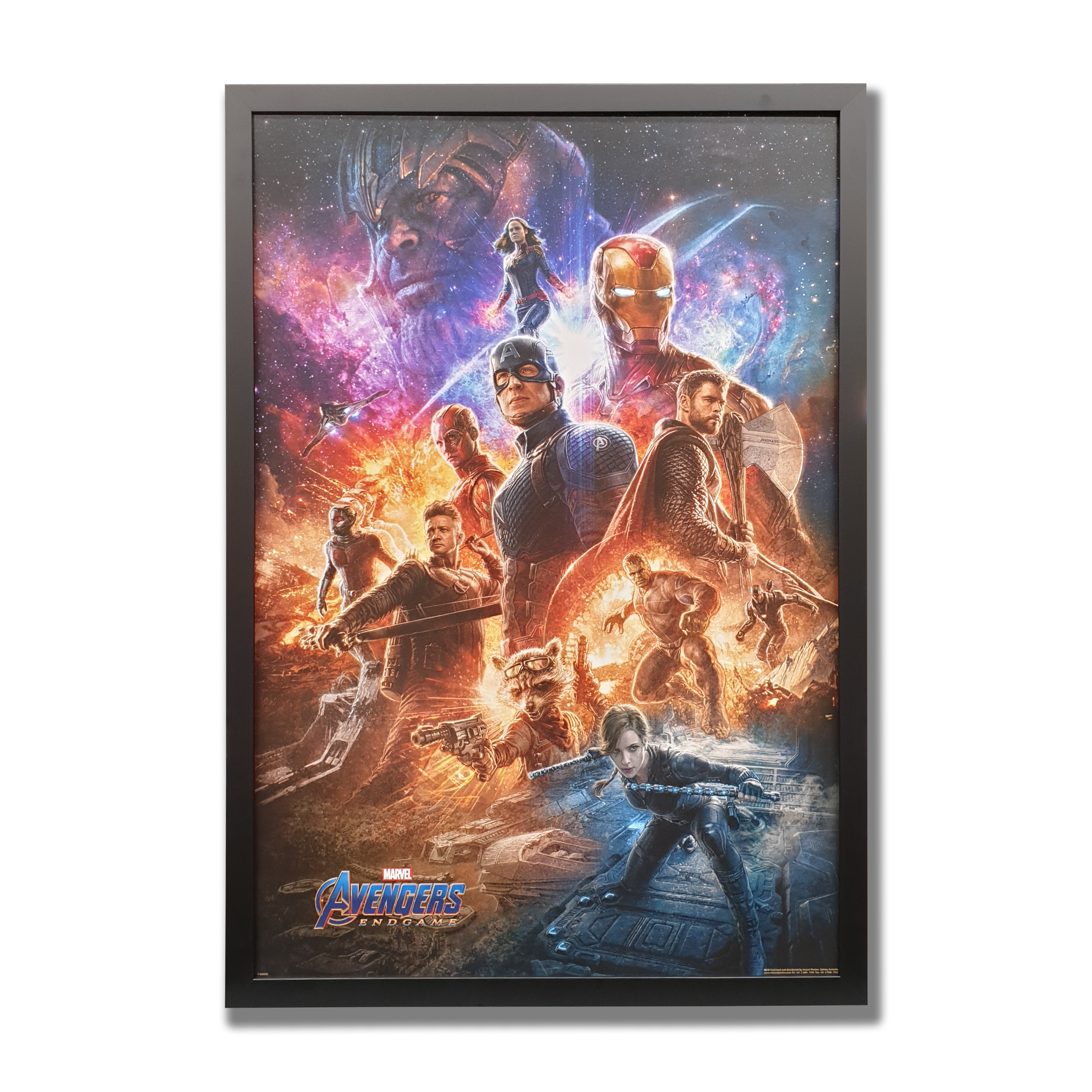 A colourful poster of the Avengers characters surrounded by a black frame