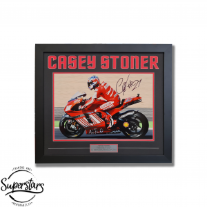 A framed photo of Casey Stoner that has been personally signed by the two time world champion