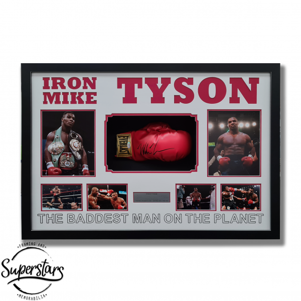 Frame containing a red boxing glove signed by Mike Tyson, photos of Mike Tyson and wording
