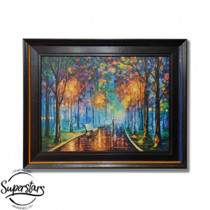A colourful piece of wall art/ ainting of a man and woman walking through a park in the evening. It is custom framed.